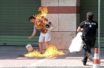 A man sets himself on fire outside a bank branch in Thessaloniki in northern Greece