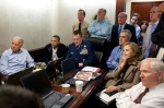U.S. President Barack Obama and Vice President Joe Biden, along with members of the national security team, receive an update on the mission against Osama bin Laden in the Situation Room of the White House